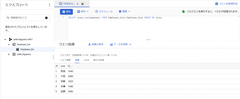 BigQuery:「GROUP BY」でグループわけ
